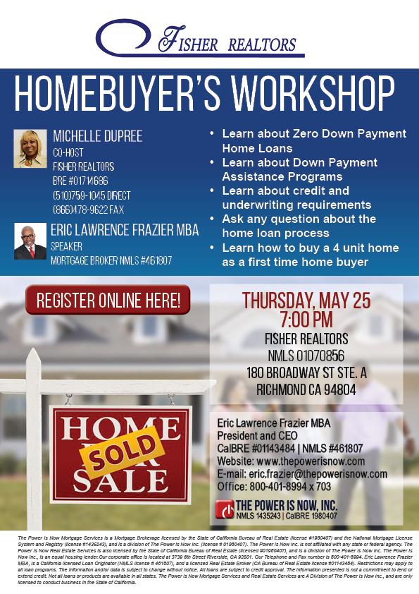 Homebuyers workshop Fisher Realtor May 252