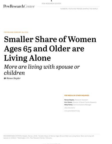 PEW RESEARCH CENTER – Smaller share of women ages 65 and older are living alone