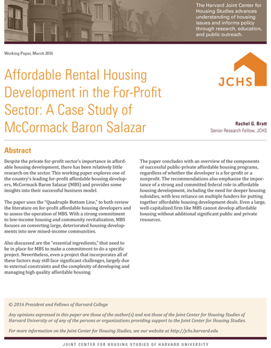 JCHS – Affordable Rental Housing Development in the For-Profit