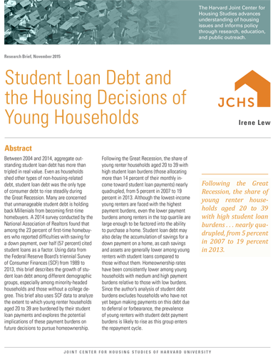 JCHS – Student Loan Debt and the Housing Decisions of Young Households