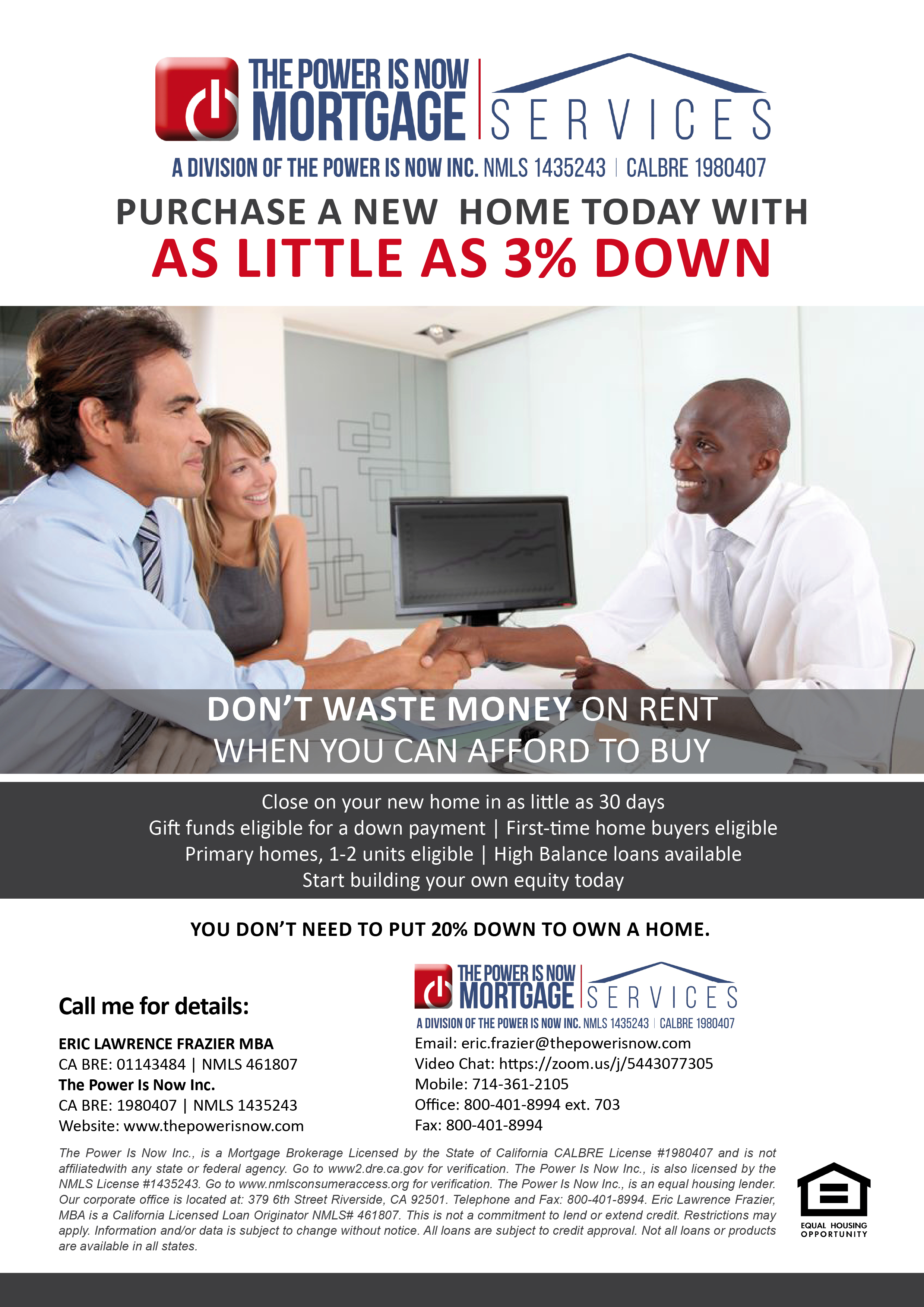 Purchase a new home today with as little as 3% down