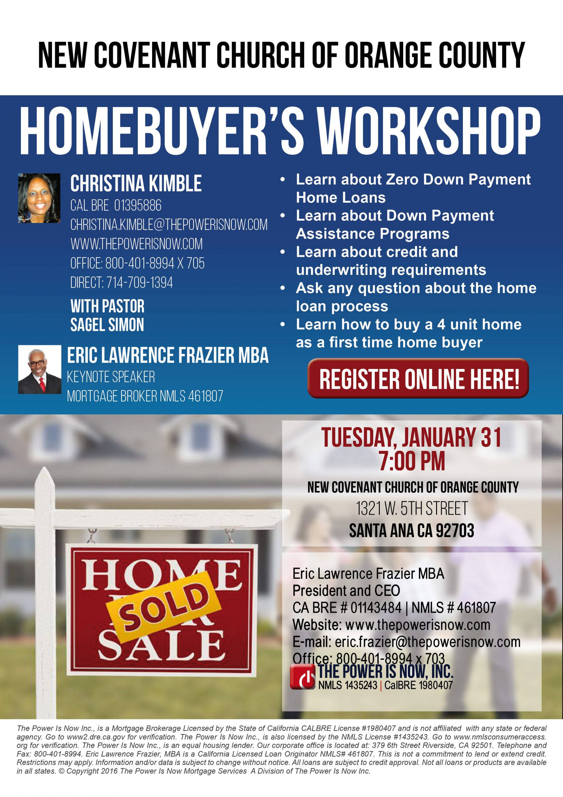 Homebuyer S Workshop New Covenant Church Of Orange County The Power Is Now