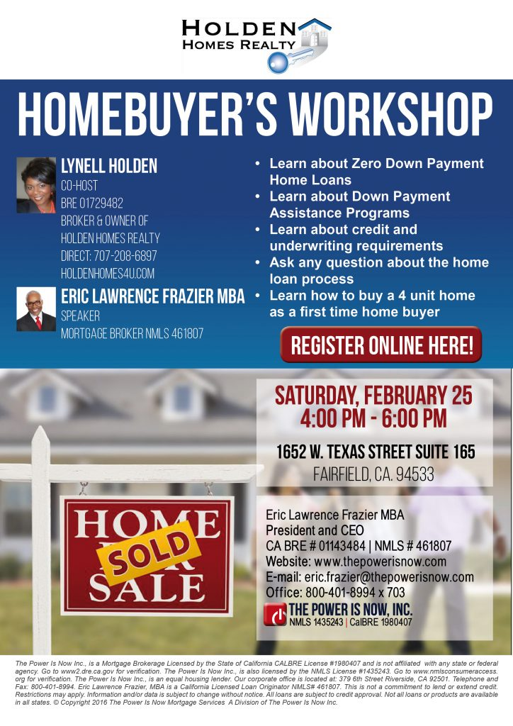 homebuyer s workshop lynell holden the power is now. Black Bedroom Furniture Sets. Home Design Ideas
