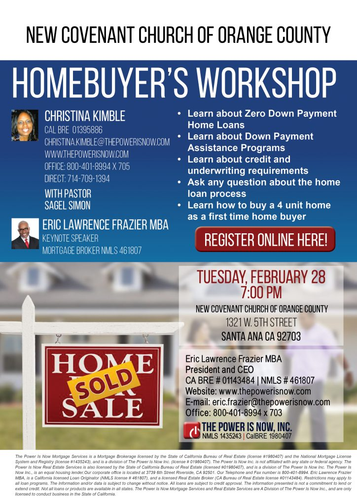 homebuyer s workshop new covenant church the power is now. Black Bedroom Furniture Sets. Home Design Ideas