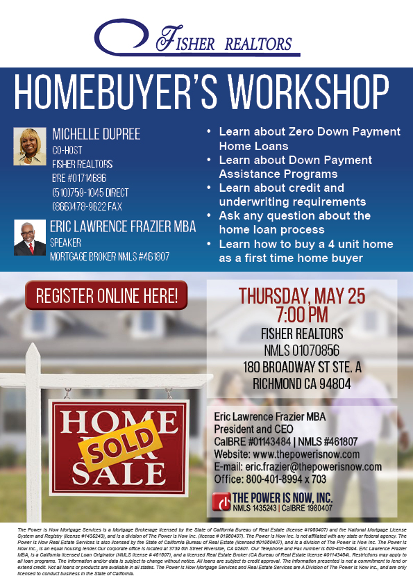 Homebuyers workshop Fisher Realtor May 252