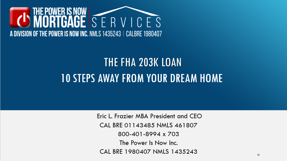 the fha 203K loan </br> 10 steps