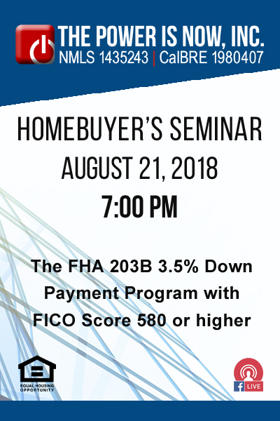 The FHA 203B 3.5% Down Payment Program with FICO Score 580 or higher