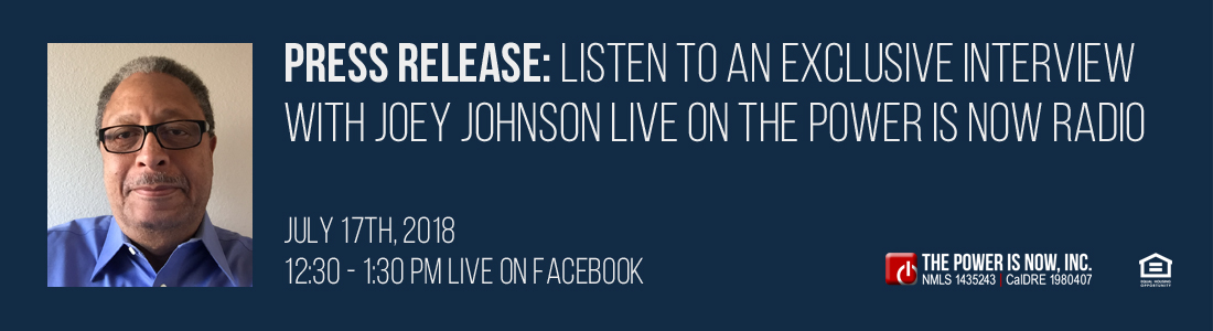 Listen to an exclusive interview with Joey Johnson live on The Power Is Now Radio
