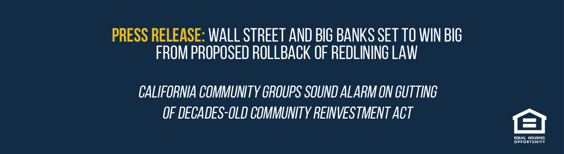 WALL STREET AND BIG BANKS SET TO WIN BIG  FROM PROPOSED ROLLBACK OF REDLINING LAW