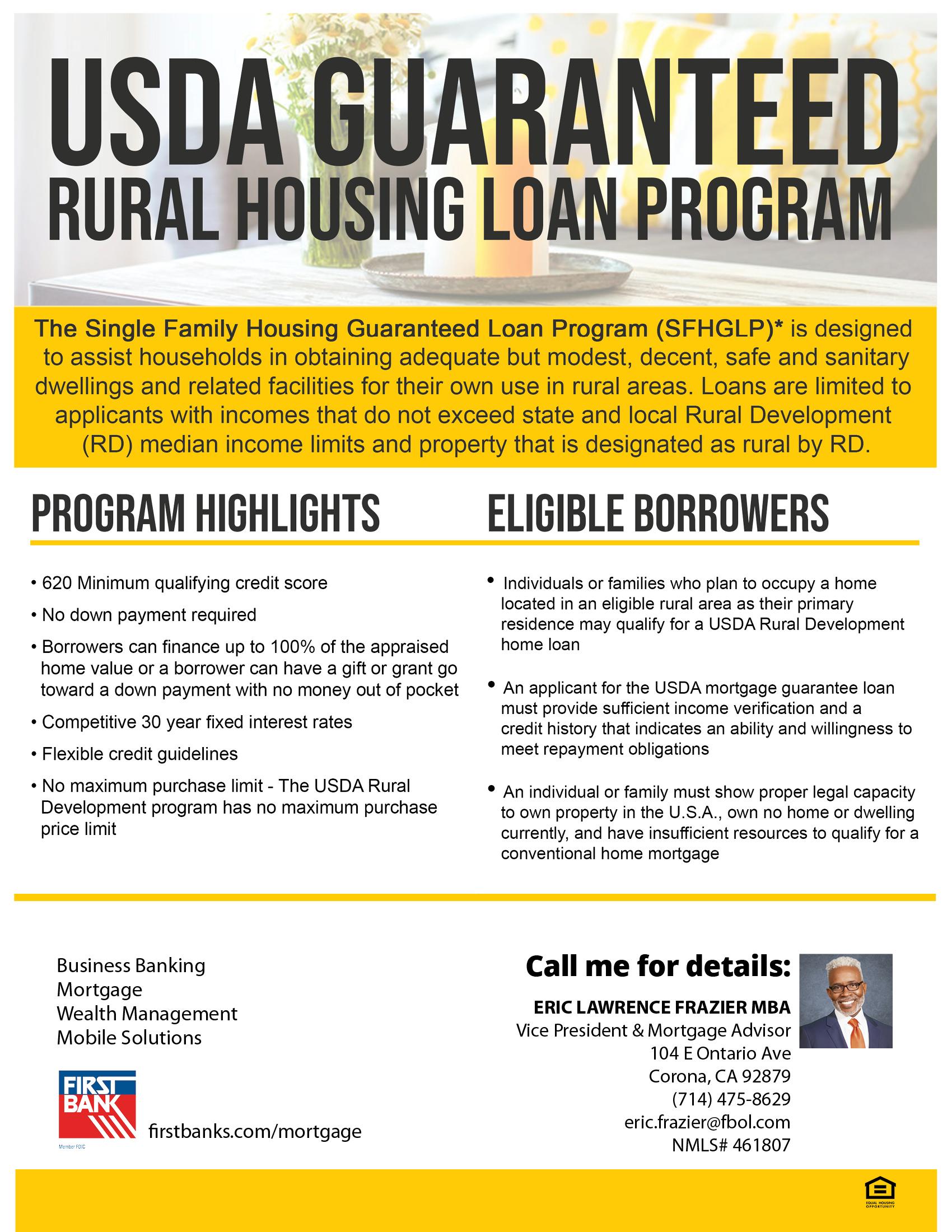 USDA Guaranteed rural housing loan