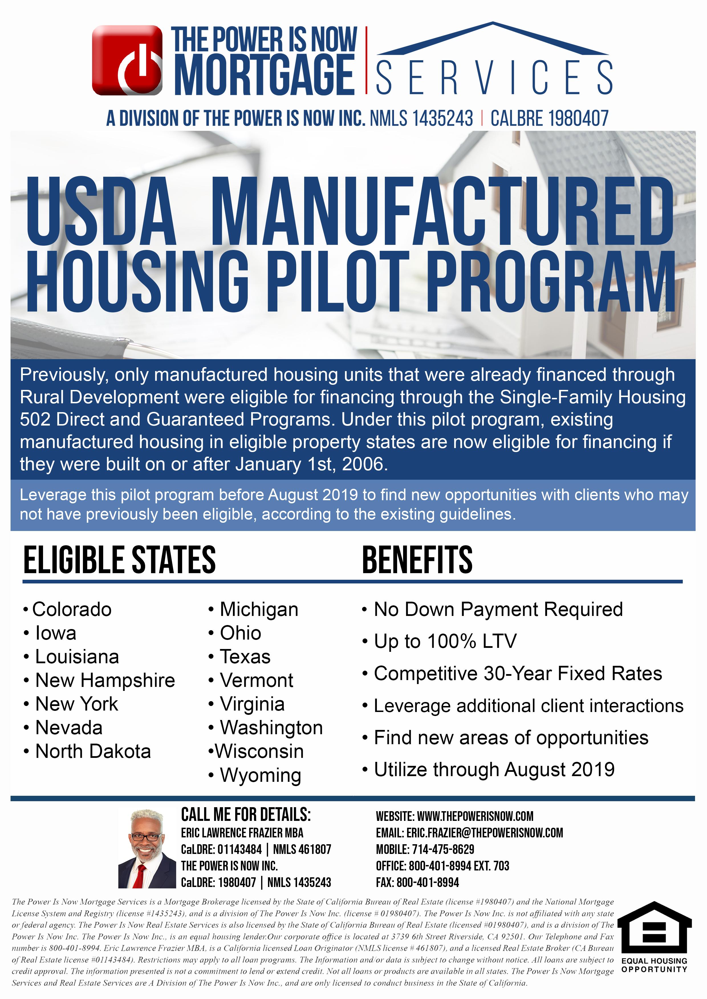 USDA manufactured housing pilot program