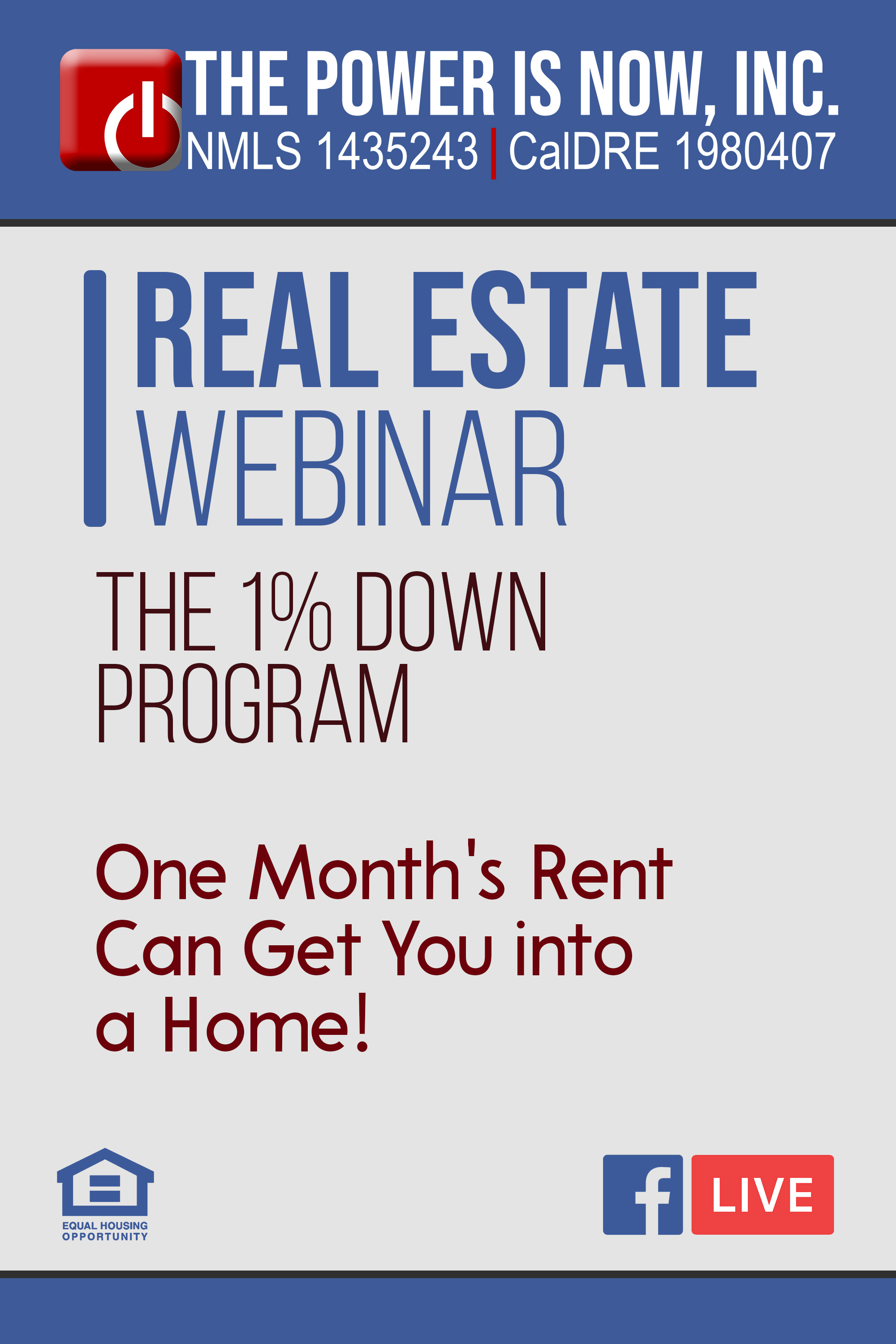 The 1% Down Program – One Month's Rent Can Get You into a Home!